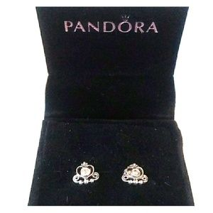 PANDORA 925 Silver Princess Stud Earrings w Box